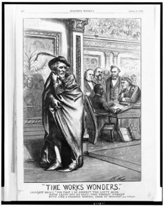 Jefferson Davis looking over his shoulder at Hiram Revels in U.S. Senate (Thomas Nast, 1870; loc.gov)