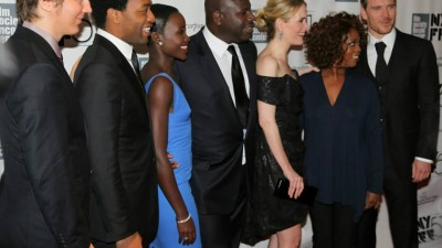"The cast of ""12 Years a Slave"" and director Steve McQueen (at far right)."
